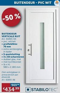 Aanbiedingen Buitendeur verticale ruit - Stabilotec - Geldig van 25/05/2021 tot 21/06/2021 bij Zelfbouwmarkt