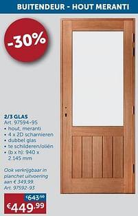 Aanbiedingen Buitendeur - hout meranti 2-3 glas -  - Geldig van 25/05/2021 tot 21/06/2021 bij Zelfbouwmarkt