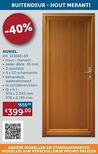 Aanbiedingen Buitendeur - hout meranti muriel -  - Geldig van 25/05/2021 tot 21/06/2021 bij Zelfbouwmarkt