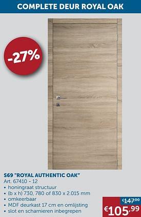 Aanbiedingen Complete deur s69 royal authentic oak -  - Geldig van 25/05/2021 tot 21/06/2021 bij Zelfbouwmarkt