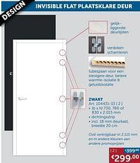 Aanbiedingen Invisible flat plaatsklare deur zwart -  - Geldig van 25/05/2021 tot 21/06/2021 bij Zelfbouwmarkt