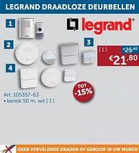 Aanbiedingen Legrand draadloze deurbel - Legrand - Geldig van 25/05/2021 tot 21/06/2021 bij Zelfbouwmarkt