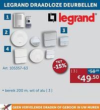 Aanbiedingen Legrand draadloze deurbell - Legrand - Geldig van 25/05/2021 tot 21/06/2021 bij Zelfbouwmarkt