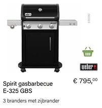 Aanbiedingen Weber spirit gasbarbecue e-325 gbs - Weber - Geldig van 21/05/2021 tot 30/06/2021 bij Multi Bazar