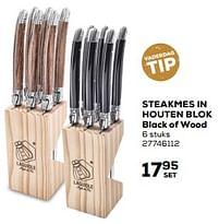 Aanbiedingen Steakmes in houten blok black of wood - Laguiole - Geldig van 25/05/2021 tot 22/06/2021 bij Supra Bazar