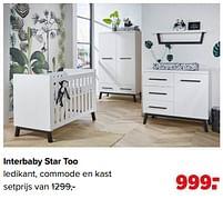 Aanbiedingen Interbaby star too ledikant, commode en kast - Interbaby - Geldig van 07/06/2021 tot 03/07/2021 bij Baby-Dump