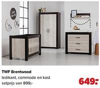 Aanbiedingen Twf brentwood ledikant, commode en kast - TWF - Geldig van 07/06/2021 tot 03/07/2021 bij Baby-Dump