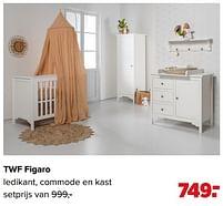 Aanbiedingen Twf figaro ledikant, commode en kast - TWF - Geldig van 07/06/2021 tot 03/07/2021 bij Baby-Dump