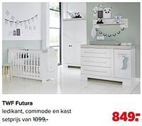 Aanbiedingen Twf futura ledikant, commode en kast - TWF - Geldig van 07/06/2021 tot 03/07/2021 bij Baby-Dump