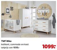 Aanbiedingen Twf mika ledikant, commode en kast - TWF - Geldig van 07/06/2021 tot 03/07/2021 bij Baby-Dump