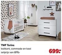 Aanbiedingen Twf torino ledikant, commode en kast - TWF - Geldig van 07/06/2021 tot 03/07/2021 bij Baby-Dump