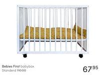 Aanbiedingen Bebies first babybox standerd - bebiesfirst - Geldig van 13/06/2021 tot 19/06/2021 bij Baby & Tiener Megastore