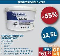 Aanbiedingen Sigma binnenverf dekomat wit - Sigma - Geldig van 22/06/2021 tot 19/07/2021 bij Zelfbouwmarkt