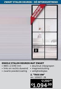 Aanbiedingen Enkele stalen deuren mat zwart trixi 8w -  - Geldig van 20/07/2021 tot 16/08/2021 bij Zelfbouwmarkt