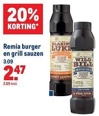 Aanbiedingen Remia burger en grill sauzen - Remia - Geldig van 07/07/2021 tot 03/08/2021 bij Makro