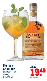 Aanbiedingen Monkey shoulder blended scotch whisky - Monkey Shoulder - Geldig van 07/07/2021 tot 03/08/2021 bij Makro