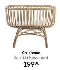 Aanbiedingen Childhome rattan met matras naturel - Childhome - Geldig van 20/07/2021 tot 16/08/2021 bij Babypark