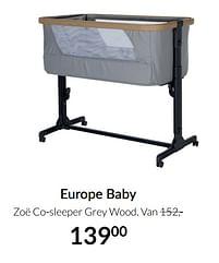 Aanbiedingen Europe baby zoë co-sleeper grey wood - Europe baby - Geldig van 20/07/2021 tot 16/08/2021 bij Babypark