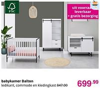 Aanbiedingen Babykamer dalton - Huismerk - Baby & Tiener Megastore - Geldig van 01/08/2021 tot 07/08/2021 bij Baby & Tiener Megastore