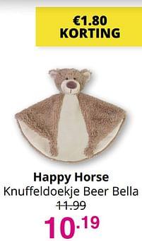 Aanbiedingen Happy horse knuffeldoekje beer bella - Happy Horse - Geldig van 01/08/2021 tot 07/08/2021 bij Baby & Tiener Megastore