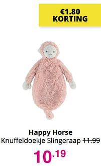 Aanbiedingen Happy horse knuffeldoekje slingeraap - Happy Horse - Geldig van 01/08/2021 tot 07/08/2021 bij Baby & Tiener Megastore