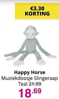 Aanbiedingen Happy horse muziekdoosje slingeraap - Happy Horse - Geldig van 01/08/2021 tot 07/08/2021 bij Baby & Tiener Megastore