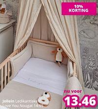 Aanbiedingen Jollein ledikantlaken love you nougat - Jollein - Geldig van 01/08/2021 tot 07/08/2021 bij Baby & Tiener Megastore
