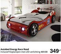 Aanbiedingen Autobed energy race rood - Huismerk - Baby & Tiener Megastore - Geldig van 01/08/2021 tot 07/08/2021 bij Baby & Tiener Megastore