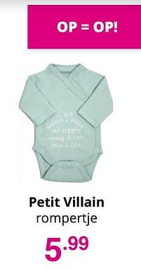 Aanbiedingen Petit villain rompertje - Petit Villain - Geldig van 01/08/2021 tot 07/08/2021 bij Baby & Tiener Megastore