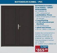 Aanbiedingen Buitendeur dubbel - vlak paneel - opent naar binnen -  - Geldig van 17/08/2021 tot 20/09/2021 bij Zelfbouwmarkt