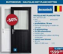Aanbiedingen Buitendeur halfglas met planchetten pvc antraciet - wit - Deceuninck - Geldig van 17/08/2021 tot 20/09/2021 bij Zelfbouwmarkt