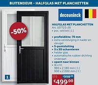 Aanbiedingen Buitendeur halfglas met planchetten pvc, wit-wit - Deceuninck - Geldig van 17/08/2021 tot 20/09/2021 bij Zelfbouwmarkt