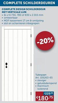 Aanbiedingen Complete design schilderdeur met verticale lijn tubespaan -  - Geldig van 17/08/2021 tot 20/09/2021 bij Zelfbouwmarkt
