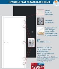 Aanbiedingen Invisible flat plaatsklare deur wit -  - Geldig van 17/08/2021 tot 20/09/2021 bij Zelfbouwmarkt