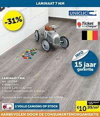 Aanbiedingen Laminaat 7 mm - Uniclic - Geldig van 17/08/2021 tot 20/09/2021 bij Zelfbouwmarkt