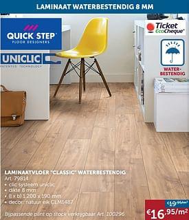 Aanbiedingen Laminaatvloer classic waterbestendig - QuickStep - Geldig van 17/08/2021 tot 20/09/2021 bij Zelfbouwmarkt