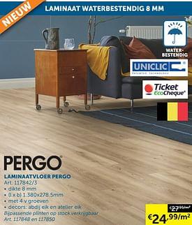 Aanbiedingen Laminaatvloer pergo - Uniclic - Geldig van 17/08/2021 tot 20/09/2021 bij Zelfbouwmarkt