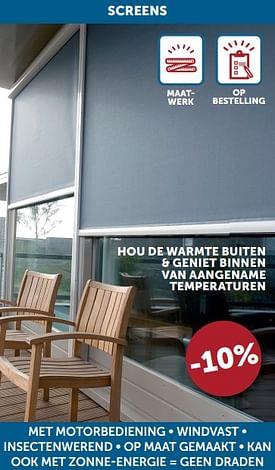 Aanbiedingen Screens met motorbediening • windvast • insectenwerend • op maat gemaakt • kan ook met zonne-energie = geen draden -10% -  - Geldig van 17/08/2021 tot 20/09/2021 bij Zelfbouwmarkt