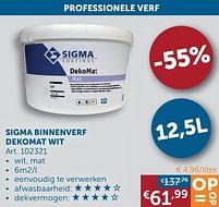 Aanbiedingen Sigma binnenverf dekomat wit - Sigma - Geldig van 17/08/2021 tot 20/09/2021 bij Zelfbouwmarkt