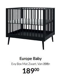 Aanbiedingen Europe baby evy box mat zwart - Europe baby - Geldig van 17/08/2021 tot 20/09/2021 bij Babypark