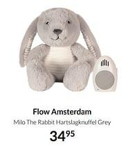 Aanbiedingen Flow amsterdam milo the rabbit hartslagknuffel grey - Flow Amsterdam - Geldig van 17/08/2021 tot 20/09/2021 bij Babypark