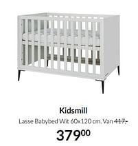 Aanbiedingen Kidsmill lasse babybed wit - Kidsmill - Geldig van 17/08/2021 tot 20/09/2021 bij Babypark