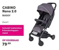 Aanbiedingen Cabino nano 2.0 buggy zwart - Cabino - Geldig van 12/09/2021 tot 18/09/2021 bij Baby & Tiener Megastore