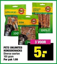 Aanbiedingen Pets unlimited hondensnacks - Pet's Unlimited - Geldig van 13/09/2021 tot 26/09/2021 bij Big Bazar
