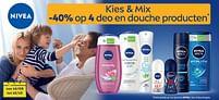 Aanbiedingen Kies + mix -40% op 4 deo en douche producten - Nivea - Geldig van 14/09/2021 tot 12/10/2021 bij Supra Bazar
