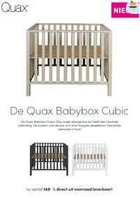 Aanbiedingen Quax babybox cubic - Quax - Geldig van 19/09/2021 tot 25/09/2021 bij Baby & Tiener Megastore