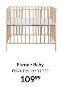 Aanbiedingen Europe baby felix ii box - Europe baby - Geldig van 21/09/2021 tot 18/10/2021 bij Babypark