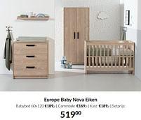 Aanbiedingen Europe baby nova eiken - Europe baby - Geldig van 21/09/2021 tot 18/10/2021 bij Babypark