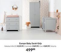 Aanbiedingen Europe baby sarah grijs - Europe baby - Geldig van 21/09/2021 tot 18/10/2021 bij Babypark