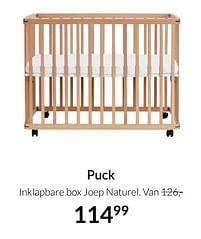 Aanbiedingen Puck inklapbare box joep naturel - Puck - Geldig van 21/09/2021 tot 18/10/2021 bij Babypark